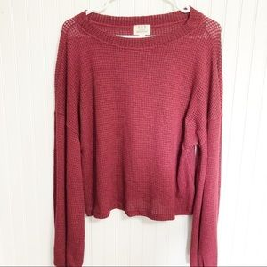 PST Nordstrom Knit Wide Neck Maroon Sweater NWT